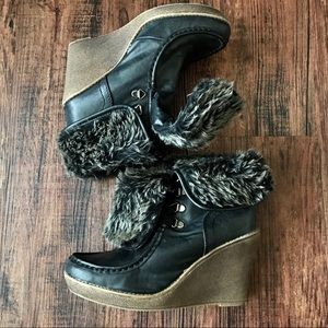 Size 9.5 Mossimo Vegan Wedge Ankle Boots